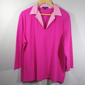 Lands' End Barbie Pink 3/4 Sleeve V-Neck Polo
